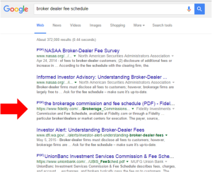 Online search for Broker Dealer fee schedules