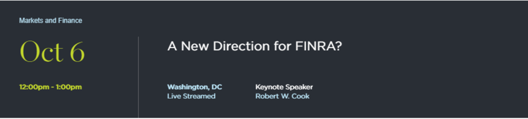 Oct 6 2017 - FINRA CEO Robert Cook